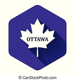 隔離された, 葉, カナダ, 白, 六角形, shadow., 紫色, button., かえで, 都市, 名前, イラスト, ベクトル, オタワ, 長い間, アイコン