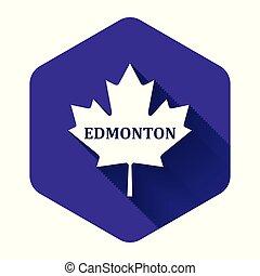 隔離された, 葉, カナダ, 白, 六角形, shadow., 紫色, button., かえで, 都市, 名前, イラスト, ベクトル, 長い間, エドモントン, アイコン