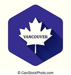 隔離された, 葉, カナダ, 白, 六角形, shadow., 紫色, button., かえで, 都市, 名前, イラスト, ベクトル, 長い間, バンクーバー, アイコン