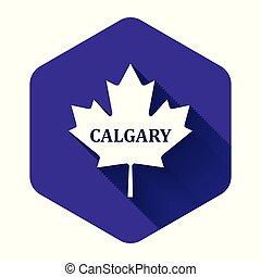 隔離された, 葉, カナダ, 白, 六角形, shadow., 紫色, button., かえで, 都市, 名前, イラスト, ベクトル, 長い間, calgary, アイコン