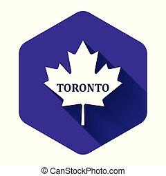 隔離された, 葉, カナダ, 白, 六角形, shadow., 紫色, button., かえで, 都市, 名前, トロント, ベクトル, イラスト, 長い間, アイコン