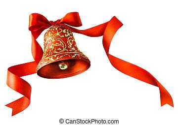 隔離された, 赤い背景, 白い クリスマス, リボン, 鐘