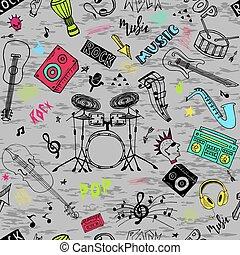 隔離された, 道具, 背景, 音楽, セット, 手, ポンとはじけなさい, ミュージカル, 岩, 引かれる, 主題, いたずら書き, 白, theme.