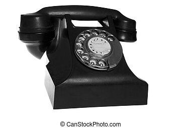 隔離された, 電話, 黒, レトロ, 背景, 白