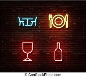 隔離された, 食物, ライト, ネオン, ne, wall., 装飾, effect., 夕食, ベクトル, サイン, れんが, シンボル, 飲み物