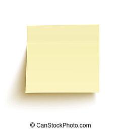 隔離された, 黄色い粘着性があるノート, 背景, 白