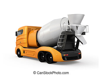 隔離された, 黄色, コンクリート, トラック, ミキサー, 背景, 白