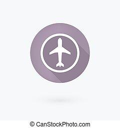 隔離された, airplan, icon., white.