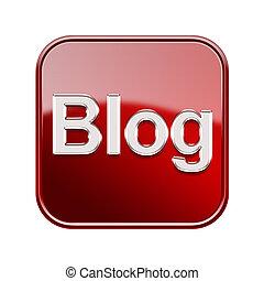 隔離された, blog, 背景, 白, アイコン, 赤