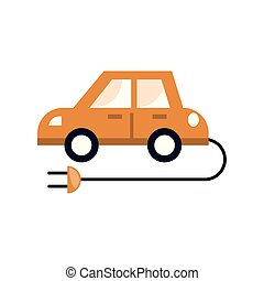 隔離された, eco, デザイン, 平ら, アイコン, 自動車
