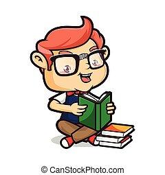 隔離された, geek, 本, 背景, 読書, nerd