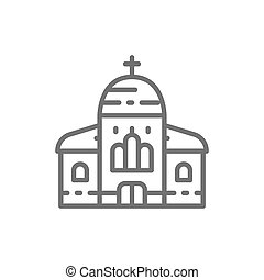隔離された, icon., 背景, 教会, 大聖堂, 白いライン