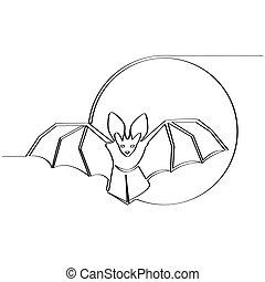 隔離された, illustration., moon., 背景, ベクトル, コウモリ, 株