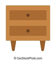 隔離された, nightstand, 木製である