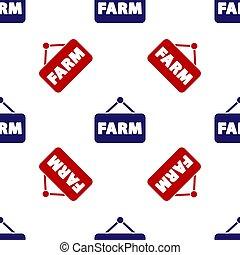 隔離された, seamless, 青, パターン, バックグラウンド。, ベクトル, 農場, 白, アイコン, テキスト, 看板, 赤