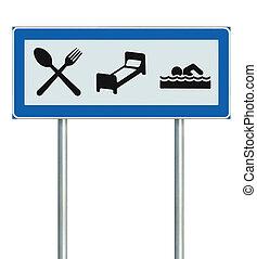 隔離された, signage, 看板, 印, 棒, 駐車, ポインター, レストラン, リゾート, ポスト, 黒, たくさん, 路傍, 白, 青, 道標, ホテル, アイコン, 調停, プール, モーテル, 道, 水泳