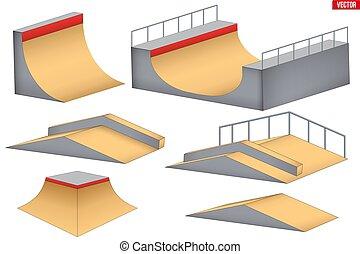 隔離された, skatepark, 要素
