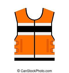 隔離された, stripes., 安全ジャケット, バックグラウンド。, ユニフォーム, オレンジ, 反射, ベクトル, 白, workers., ベスト