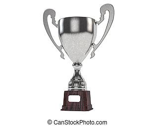 隔離された, trophy., 銀, 3d