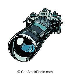 隔離しなさい, レンズ, カメラ, 望遠レンズ, 背景, 白