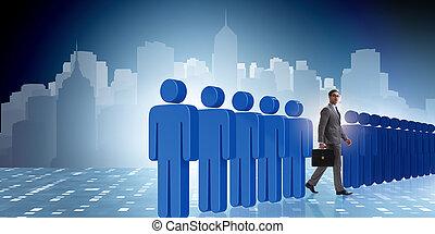 際立, から, 群集, 概念, ∥で∥, ビジネスマン