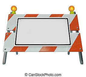 障壁, スペース, ここに, 印, 建設, バリケード, 空白のメッセージ, コピー, あなたの, 道