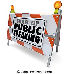 障壁, 公衆, スピーチ, 言葉, バリケード, 恐れ, でき事, 話すこと