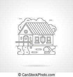 障壁, 家, 細部, イラスト, ベクトル, 線