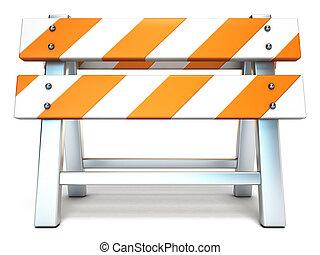 障壁, 建設, 下に, 前部, 3d, 光景