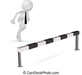 障碍, 商业, 跳跃, 跑, 通过, 人, 3d