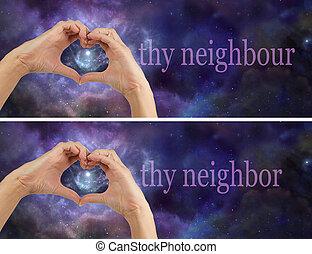 隣人, 愛, thy, 隣人