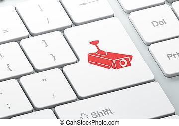 隱私, concept:, 中國中央電視台照像機, 上, 計算机鍵盤, 背景