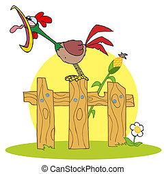 雄ん鶏, 歩む, 鳴く, フェンス