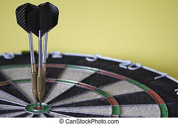 雄牛, 概念, 選択的な 焦点, 3, 勝利, ターゲット, ゴール, 目, ダート盤, 達成, さっと動く