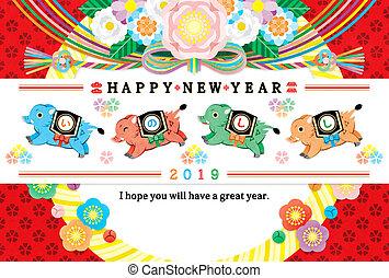 雄豚, そして, 花, イラスト, 2019, 元日, カード, カラフルである, デザイン, 新年おめでとう