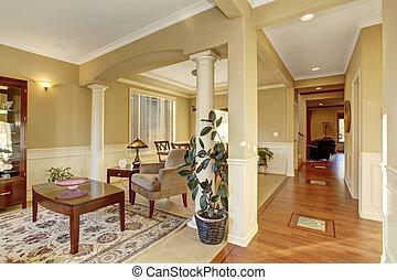 雅致, 家庭, 前面室, 由于, 好, decor.