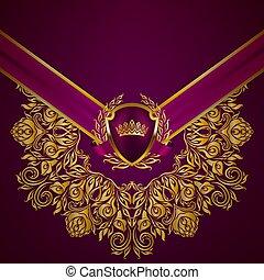 雅致, 框架, 旗幟, 黃金
