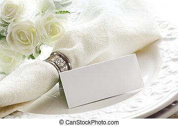 雅致, 白色, 餐具, 由于, 卡片