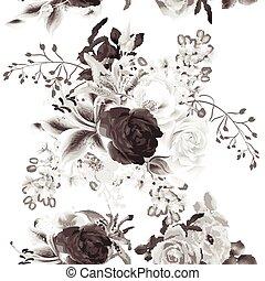 雅致, seamless, 背景, 由于, 玫瑰, 在, monochromic, 深棕色, style.eps
