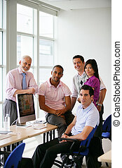 集まった, 同僚, コンピュータ, グループ, のまわり