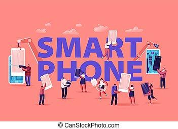 集まっていること, 人々, 保有物, 話し, 群集, 女性, concept., 男性, 使うこと, texting, cellphones, smartphones