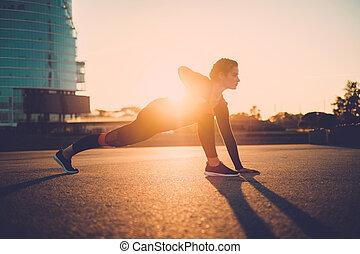 集中される, フィットネス, stretching., 女性