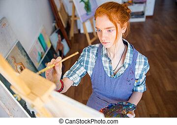 集中される, 女性塗装工, 保有物, 芸術, パレット, そして, 絵, 上に, キャンバス