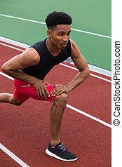 集中される, 運動選手, 伸張, アフリカ, 練習, 人, 作りなさい, ハンサム