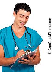 集中, 醫生, 寫, a, 醫學, 報告