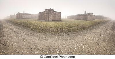 集中, auschwitz, 纳粹, 营房
