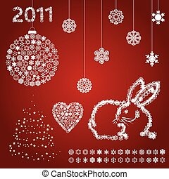集合, 上, a, 主題, ......的, 新, year., a, 矢量, 插圖