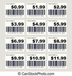 集合, 價格, barcode, 標簽, 標簽