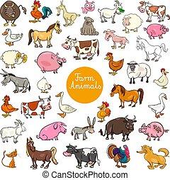 集合, 動物, 農場, 大, 字符, 卡通