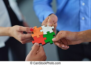 集合, 团体, 商务人士, 难题, 竖锯